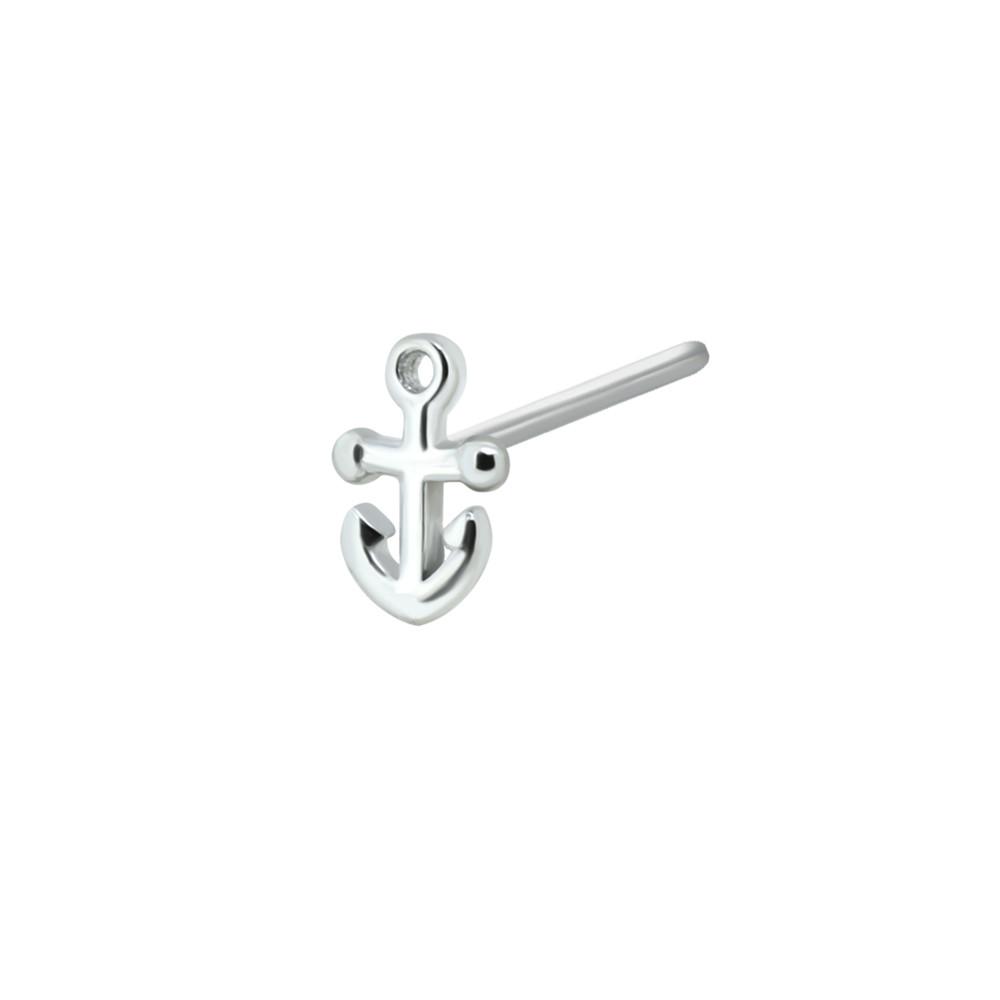 925 Sterling Silver Anchor L Shape Nose Stud