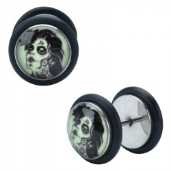 Surgical Steel Glow in the Dark Day of the Dead Girl Logo False Plug