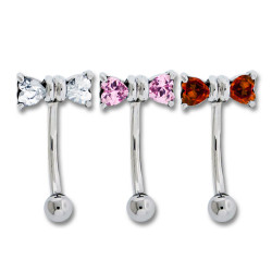 Surgical Steel Gem Bow Curved Eyebrow