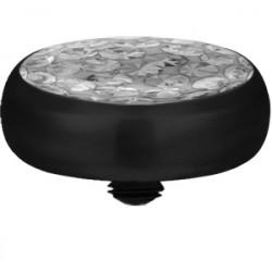 Black Titanium Epoxy Covered Disco Gem Flat Disc for Microdermal