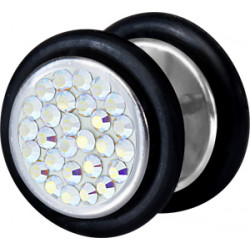 Surgical Steel False Plug with Epoxy Covered Disco Gems