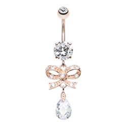 Rose Gold Plated Surgical Steel Gem Bow With CZ Dangle Belly Button Ring