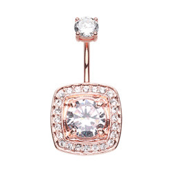 Rose Gold Plated Surgical Steel Claw Set Gem Square Non-Dangle Belly Button Ring