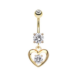 Gold Plated Surgical Steel CZ Heart Dangle Belly Button Ring