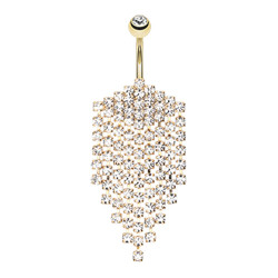 Gold Plated Surgical Steel Gem Chandelier Dangle Belly Button Ring