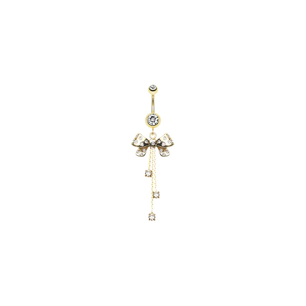 Gold Plated Surgical Steel Bling Bow With CZ Dangles Belly Button Ring