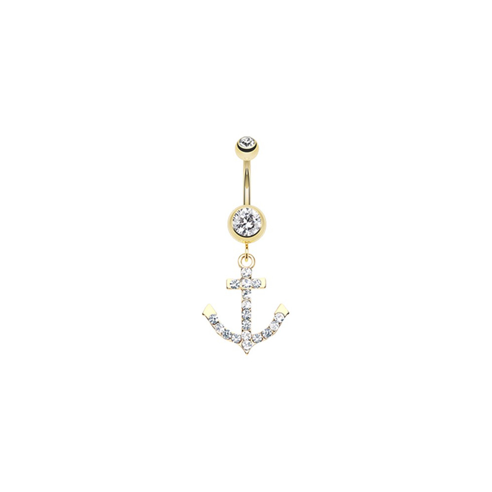 Gold Plated Surgical Steel Gemmy Anchor Dangle Belly Button Ring