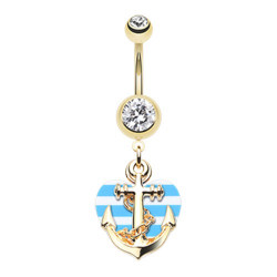 Gold Plated Surgical Steel Anchor With Striped Heart Dangle Belly Button Ring