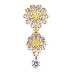 Gold Plated Surgical Steel Bling Daisy Inverted Belly Button Ring