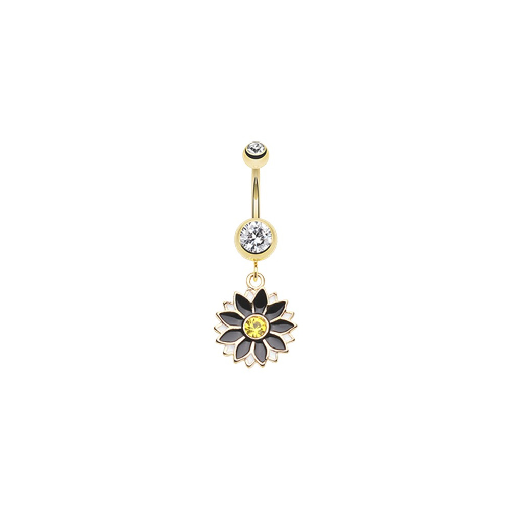 Gold Plated Surgical Steel Daisy Gem Dangle Belly Button Ring