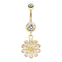 Gold Plated Surgical Steel Bling Daisy Dangle Belly Button Ring