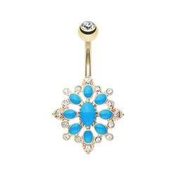 Gold Plated Roesia Design Non-Dangle Belly Button Ring