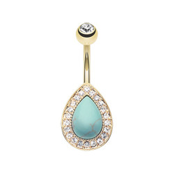 Gold Plated Surgical Steel Turquoise Stone Tear Drop Non-Dangle Belly Button Ring