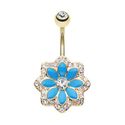 Gold Plated Surgical Steel Blue Sparkle Lotus Flower Non-Dangle Belly Button Ring