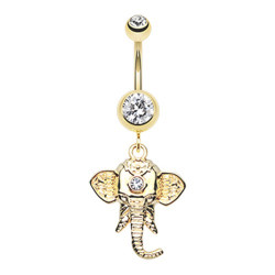Gold Plated Surgical Steel Ganesha Dangle Belly Button Ring