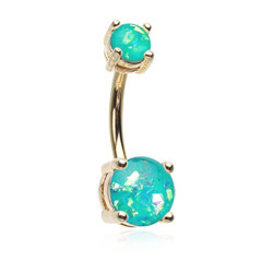 Gold Plated Surgical Steel Double Claw Set Opal Gem Non-Dangle Belly Button Ring
