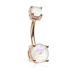 Rose Gold Plated Surgical Steel Double Claw Set Opal Gem Non-Dangle Belly Button Ring