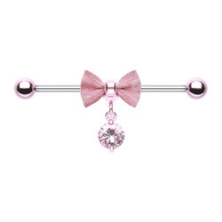 Surgical Steel Pink Bow & Gem Dangle Industrial