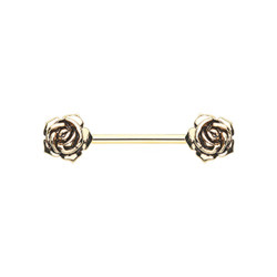 Gold Plated Surgical Steel Double Rose Nipple Barbell