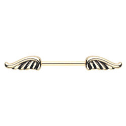 Gold Plated Surgical Steel Angel Wing Nipple Barbell