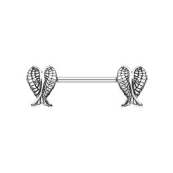 Surgical Steel Double Angel Wing Nipple Barbell