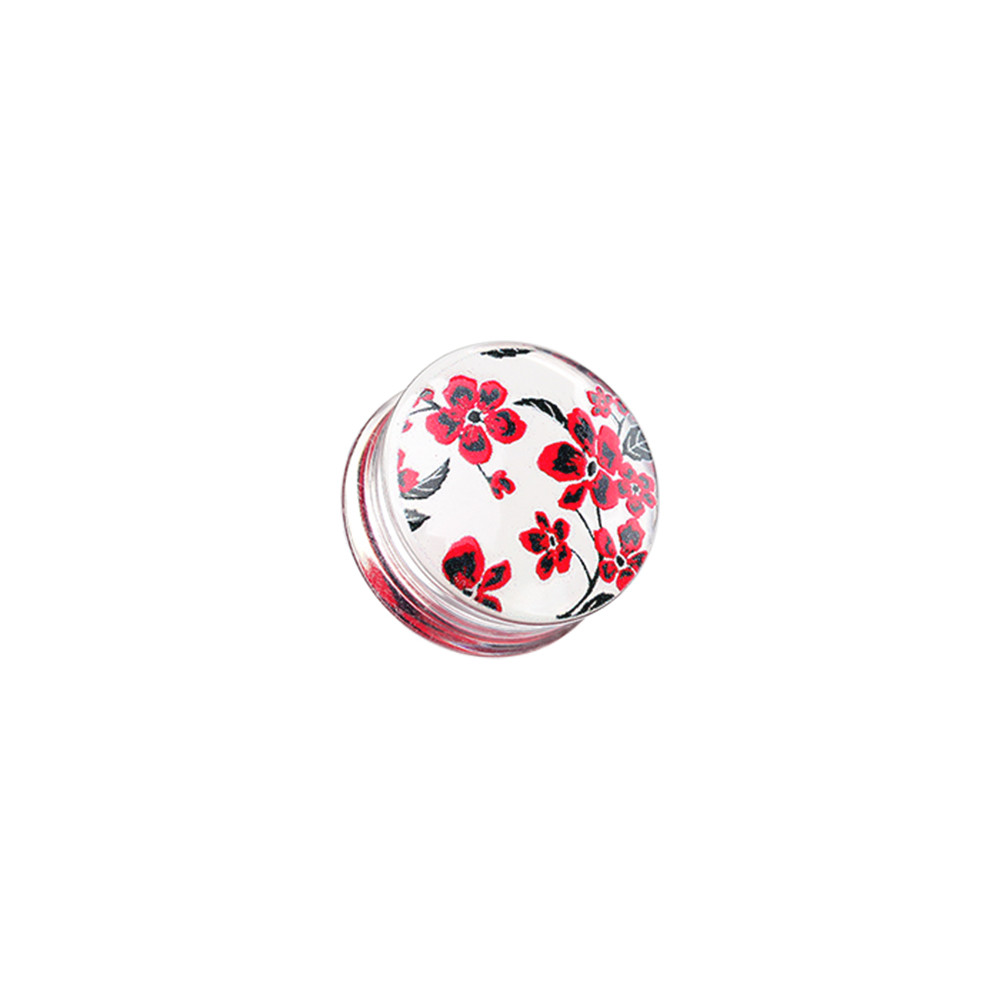Acrylic Handpainted Cherry Blossom Double Flare Plug