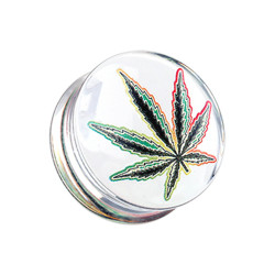 Acrylic Handpainted Pot Leaf Double Flare Plug