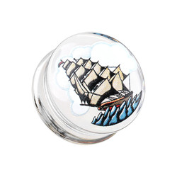 Acrylic Handpainted Sailing Ship Double Flare Plug