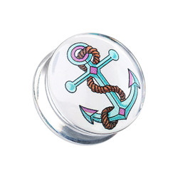 Acrylic Handpainted Anchor Double Flare Plug