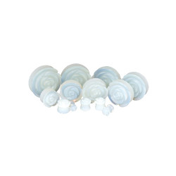 Rose Carved Synthetic Opalite Stone Double Flare Plugs