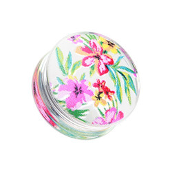 Acrylic Handpainted Floral Print Double Flare Plug