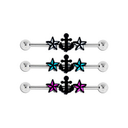 Surgical Steel Nautical Star Anchor Industrial Barbell
