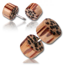 Coco Wood False Plug with Surgical Steel Pin
