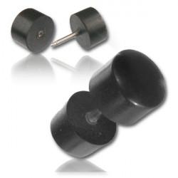Black Arang Wood False Plug with Surgical Steel Pin