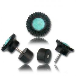 Arang Wood False Plug with Turquoise Inlay