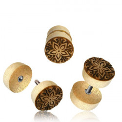 Crocodile Wood with Carved Flower Design