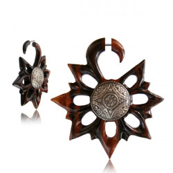 Narra Wood Cut Out Flower False Spiral with Metal Button