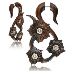 Narra Wood False spiral with Three Flowers
