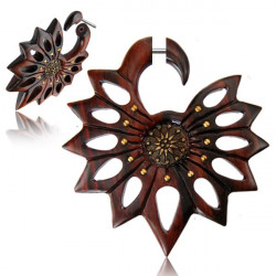 Narra Wood Flower False Spiral with Brass Accents