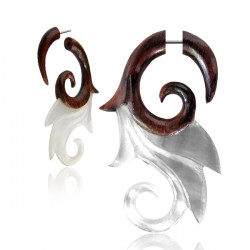 Narra Wood False Spiral with Mother of Pearl Loops
