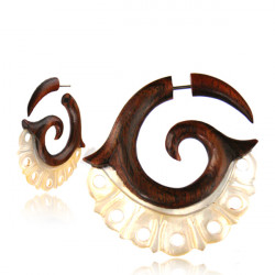 Narra Wood False Spiral with Mother of Pearl Cut Outs