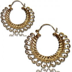 Brass Dangle Plug Hoop Earring Worn with Plugs or Tunnels