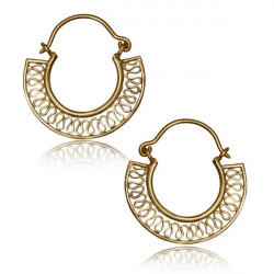 Brass Dangle Plug Hoop Earring Worn with Plugs or Tunnels