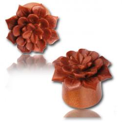 Sawo Wood Hand Carved Lotus Flower Plug
