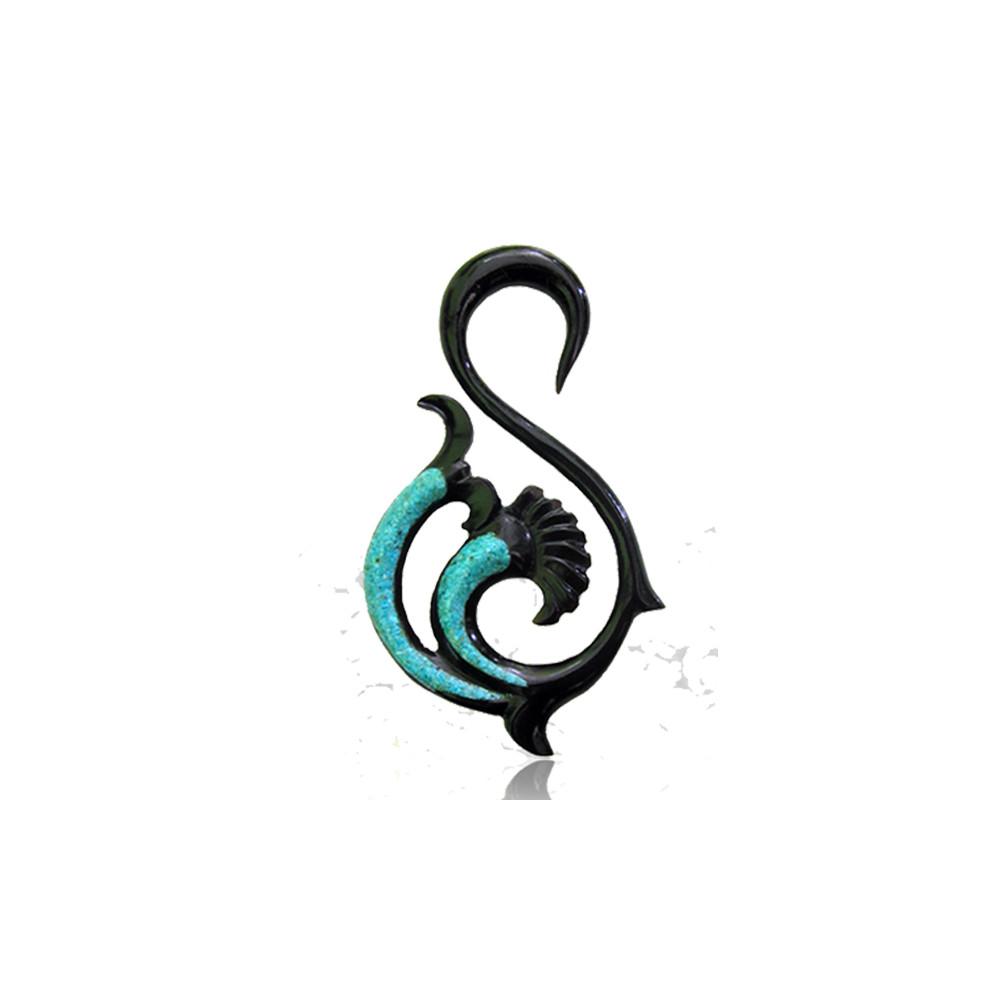 Turquise Inlayed Round Swirl Horn Spiral