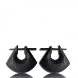 Black Stained Narra Wood Pin Earrings