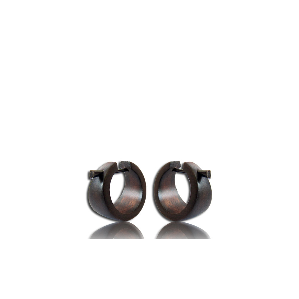 Black Sono Wood Pin Earrings