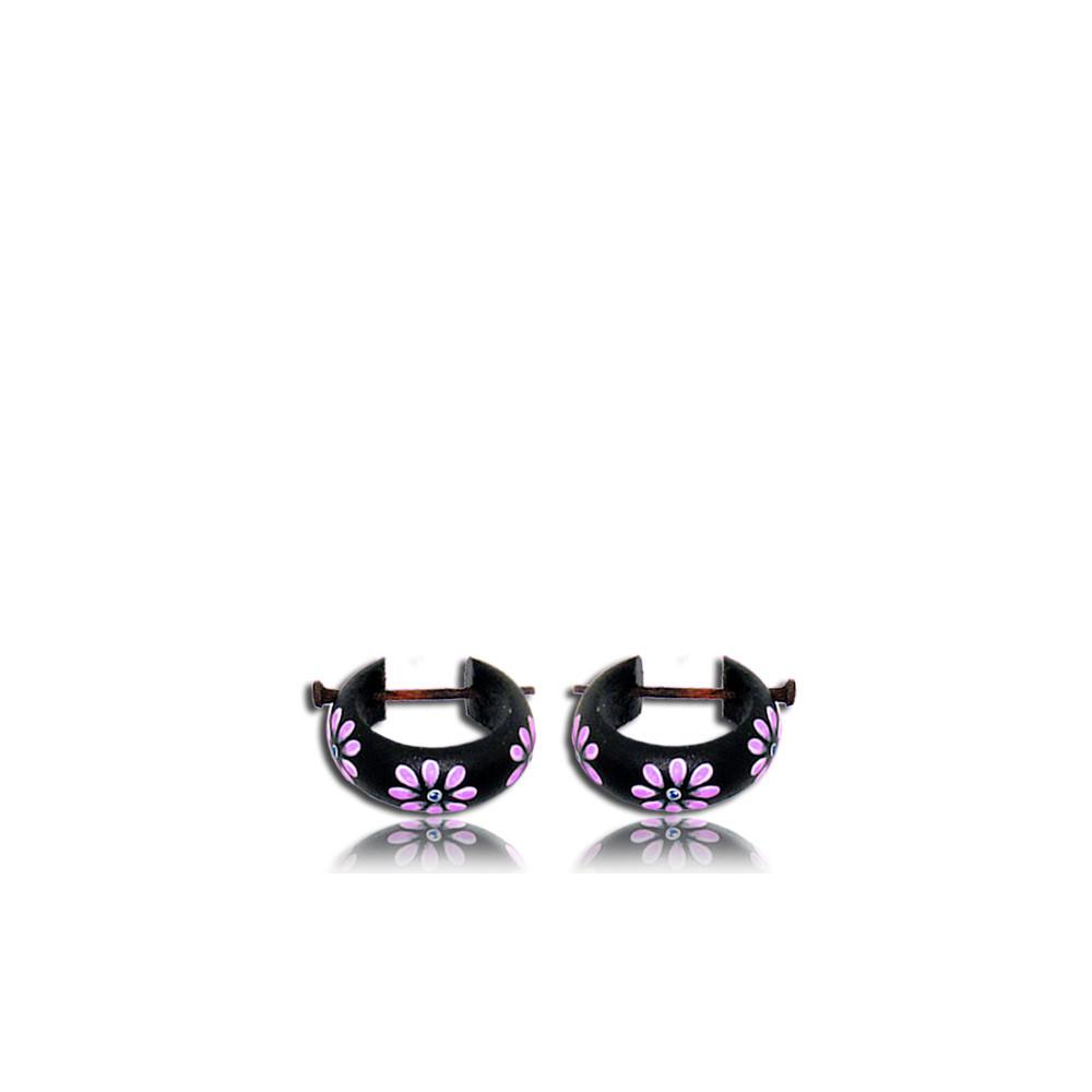 Hand Painted Purple Flower Narra Wood Pin Earrings