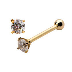 14K Solid Gold Claw Set Round Gem Cartilage Barbell