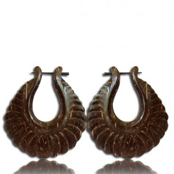 Coconut Wood Pin Earrings